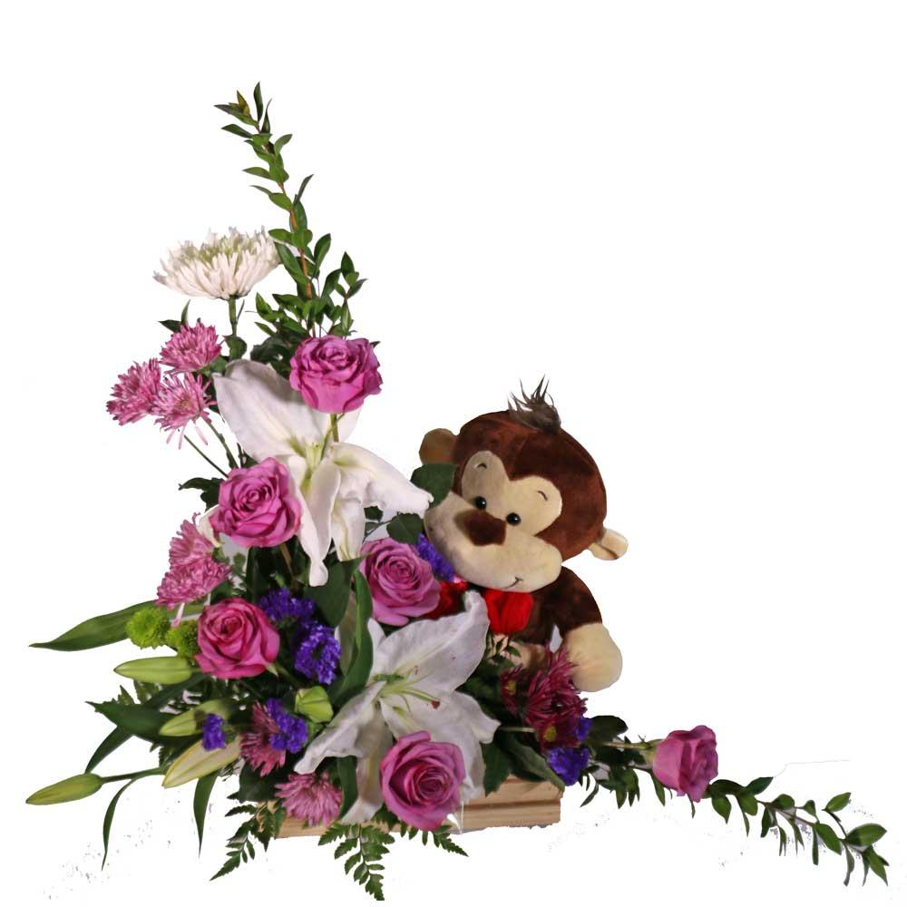Flower Arrangements El Paso: Lavender Roses & Monkey Floral Arrangement