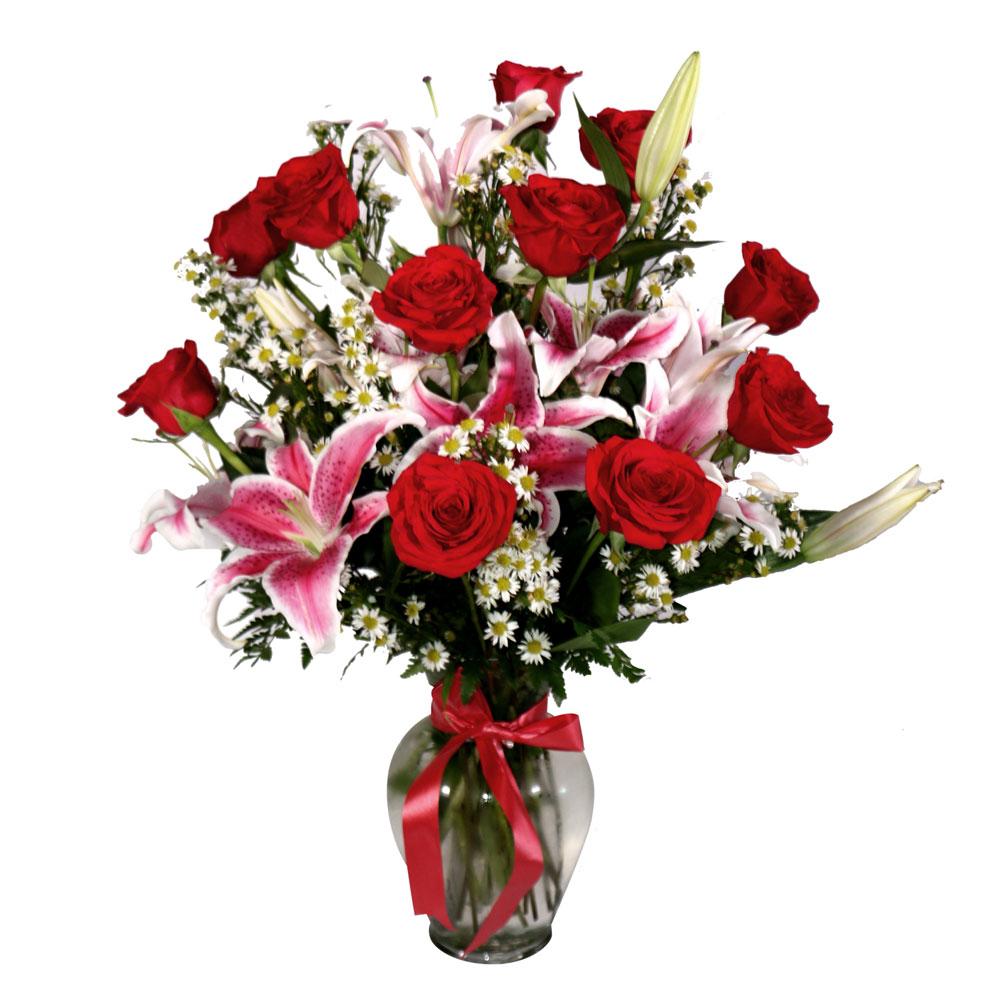 Flower Arrangements El Paso: 1 Dozen Red Roses With Lilies