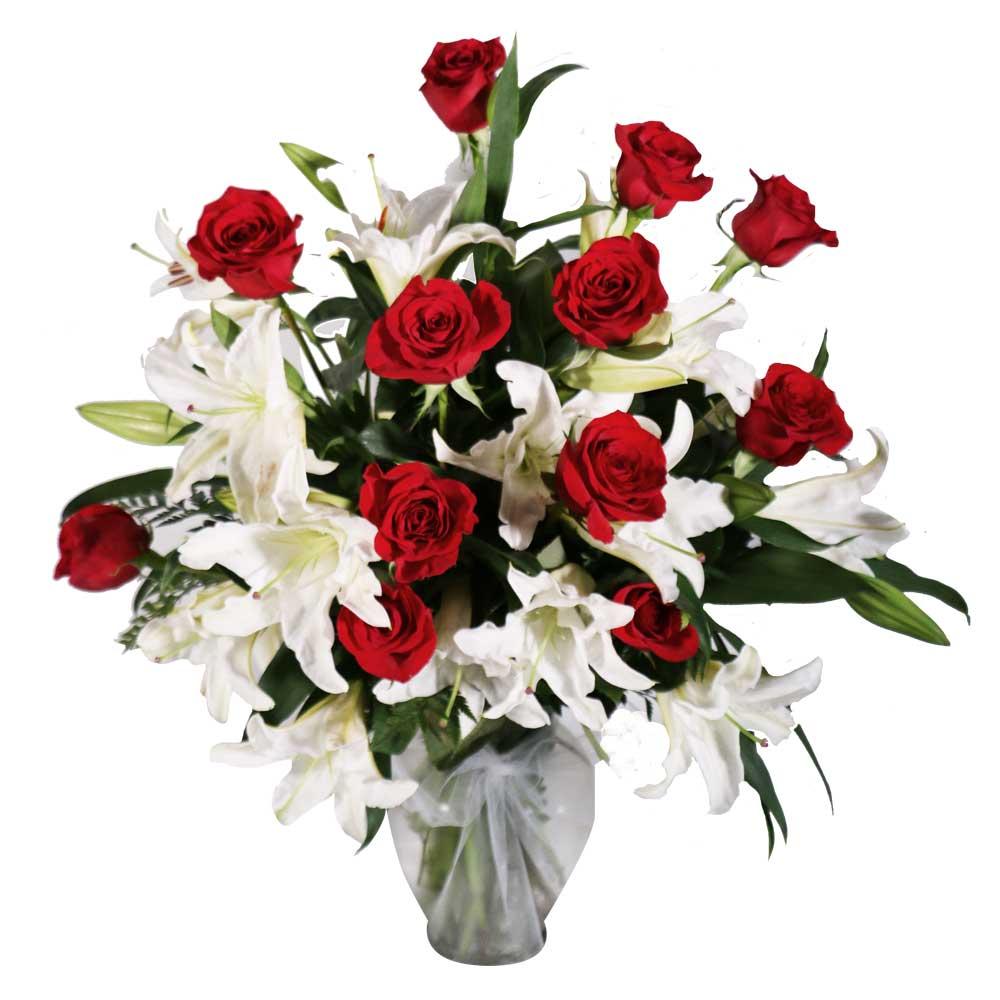 Flower Arrangements El Paso: Roses & Lilies Floral Arrangement 5