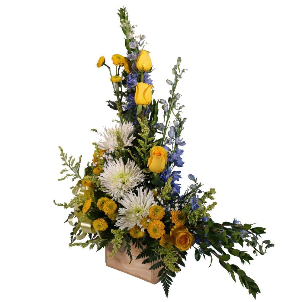 Yellow rose basket floral arrangement roel flowers yellow rose basket floral arrangement mightylinksfo